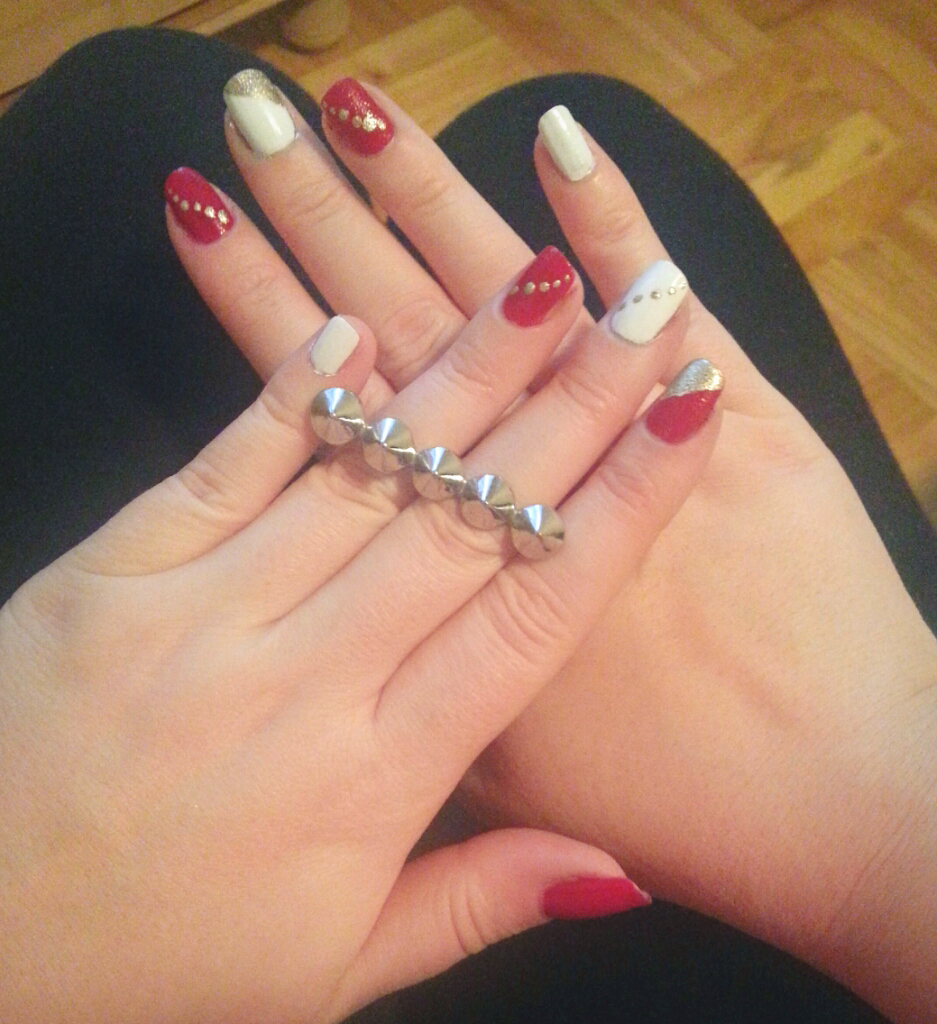 Holiday nails (red, white and gold)