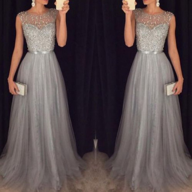 A-line Scoop Floor-length Tulle Prom Dresses Silver Prom Dress #SP8191