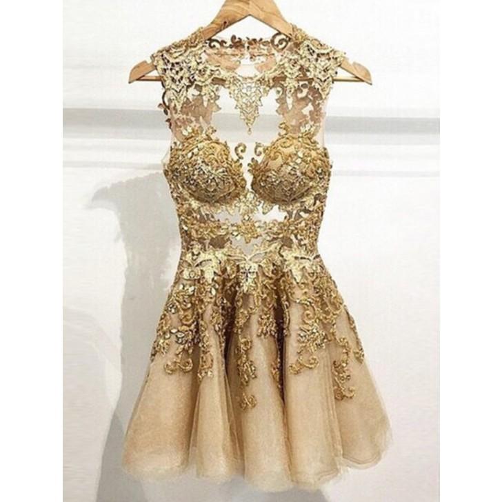 Scoop Short/Mini Tulle Homecoming Dresses Lace Short Prom Dresses #SP8333